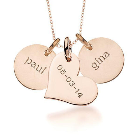 Image of 14k Gold Circles & Heart Necklace - tinytags