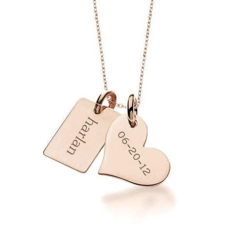 Image of 14k Heart & Mini Dog Charm Necklace - tinytags