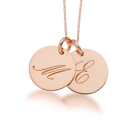 Image of 14k Gold Script Initial Necklace - 2 Circles