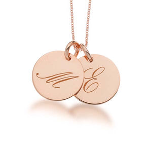 14k Gold Script Initial Necklace - 2 Circles