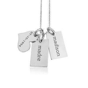 Sterling Silver Mini Dog Tags & Heart Necklace