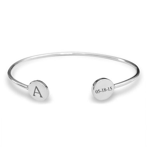 Sterling Silver Signet Bangle - tinytags