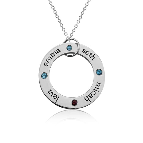 Image of Sterling Silver Circle Pendant - 4 Names With Birthstones