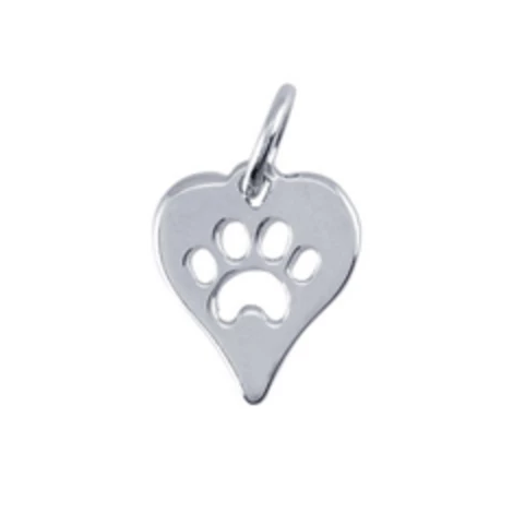 Sterling Silver Heart Paw Charm - tinytags