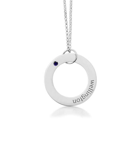 Sterling Silver Circle Pendant - 1 Name With Birthstone