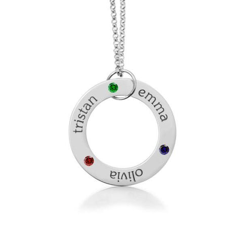 Image of Sterling Silver Circle Pendant - 3 Names With Birthstones