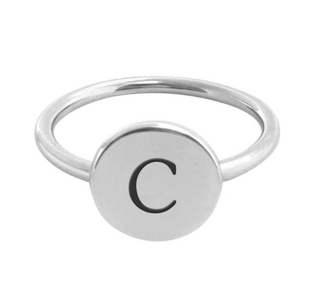 Sterling Silver Initial Signet Ring