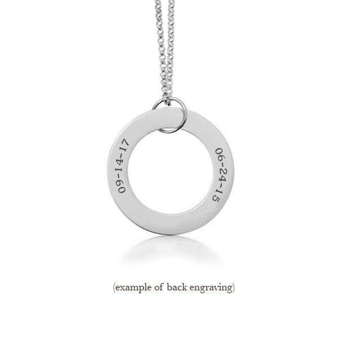Sterling Silver Circle Pendant - 2 Names