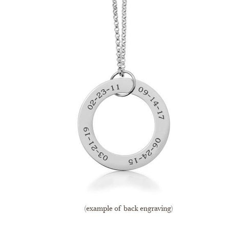 Sterling Silver Circle Pendant - 4 Names