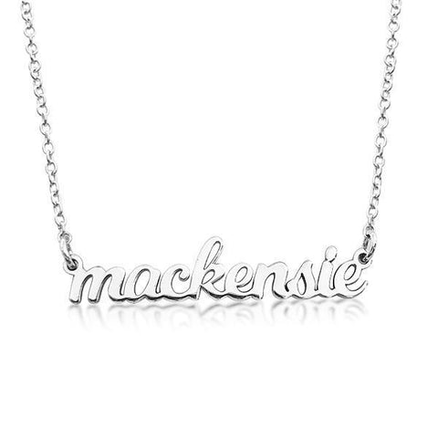 14K Gold Script Nameplate Necklace