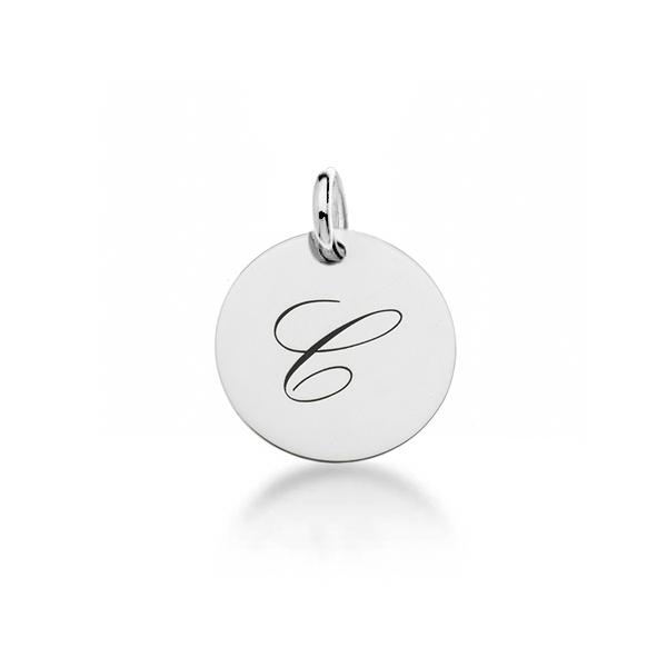 Sterling Silver Script Initial Tag