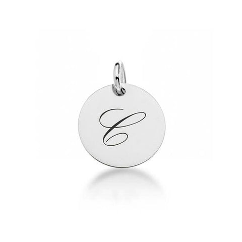 Image of Sterling Silver Script Initial Circle Tag