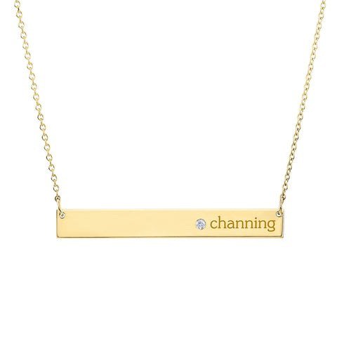 Gold Skinny Bar Birthstone Necklace - 1 Name & 1 Stone