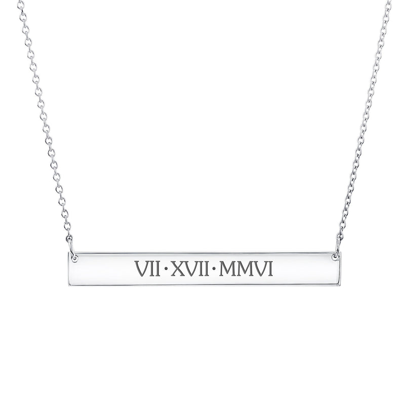 Sterling Silver Skinny Bar Necklace - Uppercase