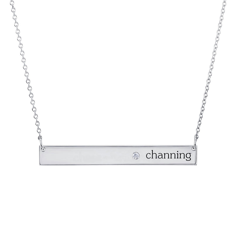 Sterling Silver Skinny Birthstone Bar Necklace (1 name+ 1 stone)