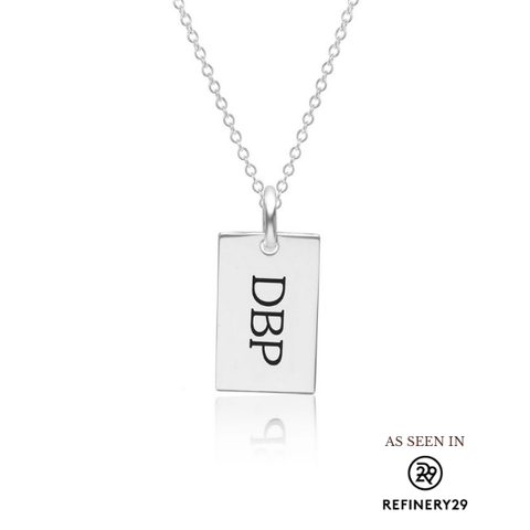 Sterling Silver Monogram Dog Tag Necklace