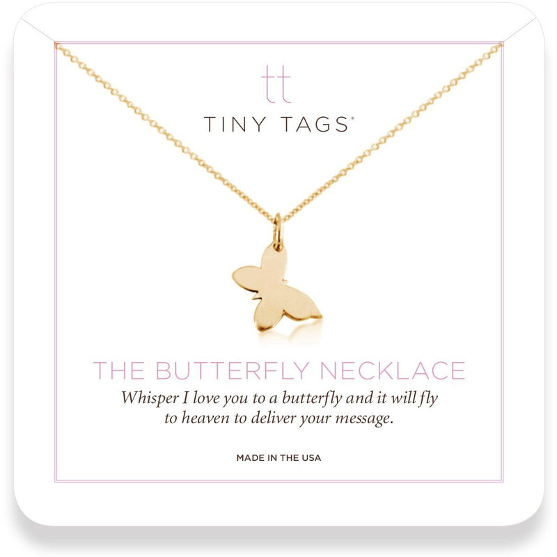 The Butterfly Necklace 14k gold whisper 'i love you' - tinytags
