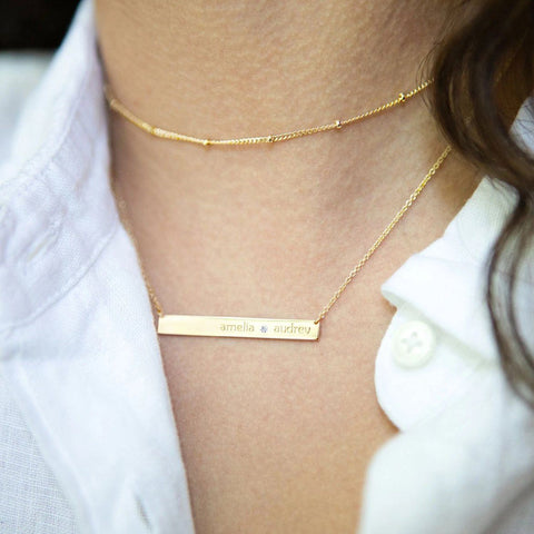 Image of Gold Skinny Bar Birthstone Necklace - 1 Name & 1 Stone