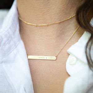 14K Gold Skinny Bar Birthstone Necklace - 1 Name & 1 Stone