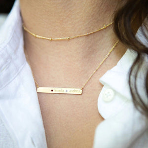 14K Gold Skinny Bar Birthstone Necklace - 3 Names & 3 Stones