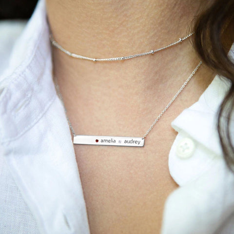 Image of Sterling Silver Skinny Bar Birthstone Necklace - 2 Names & 1 Stone