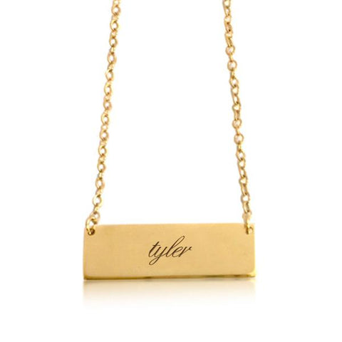 MRC Gold Bar Script Necklace - tinytags
