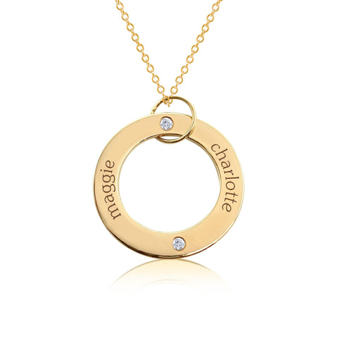 14k Gold Circle Pendant - 2 Names With Birthstones