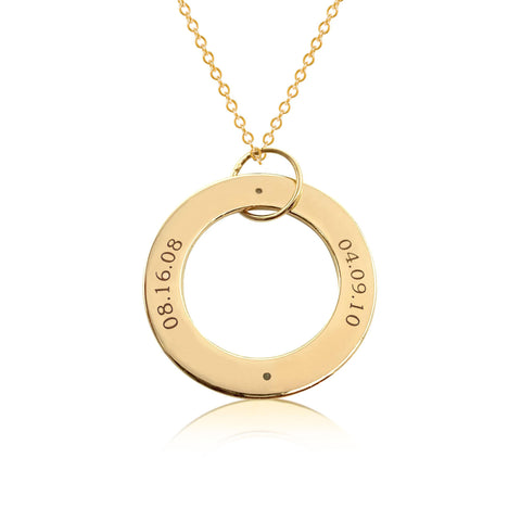 Image of Gold Circle Pendant - 2 Names With Birthstones