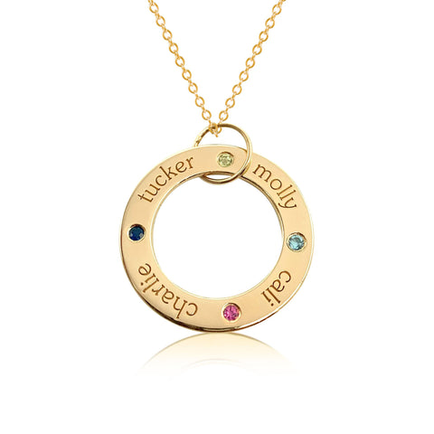 Gold Circle Pendant - 4 Names With Birthstones