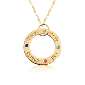 14k Gold Circle Pendant - 4 Names With Birthstones
