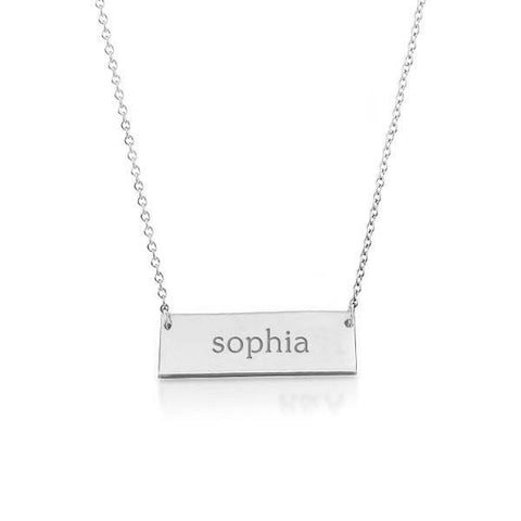 14k Gold Bar Name Necklace
