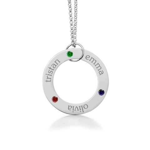 Image of 14k Gold Circle Pendant - 3 Names With Birthstones