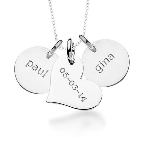 14k Gold Circles & Heart Necklace - tinytags