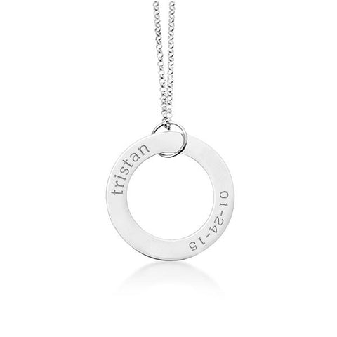 14k Gold Circle Pendant - Name & Birthday