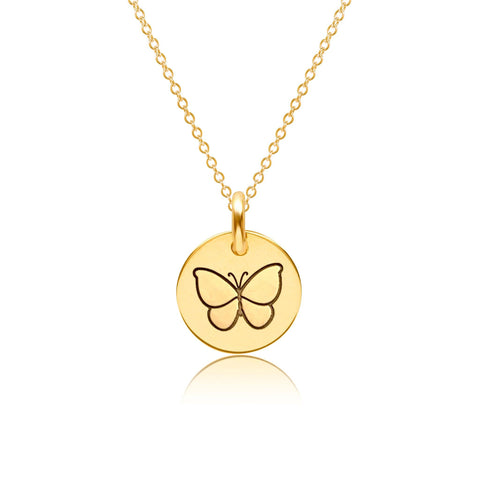 Image of 14k Gold Butterfly Necklace