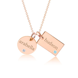 14k Gold Circle & Mini Dog Tag Necklace With Birthstones