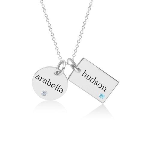 Sterling Silver Circle & Mini Dog Tag Necklace With Birthstones