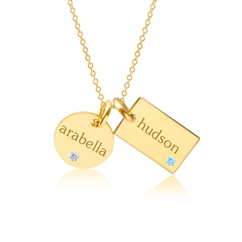 Image of Gold Circle & Mini Dog Tag Necklace With Birthstones