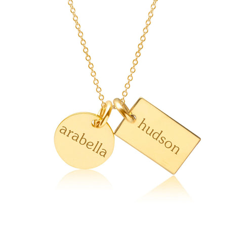 Image of 14k Gold Circle & Mini Dog Tag Necklace