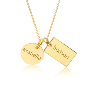 14k Gold Circle & Mini Dog Tag Necklace