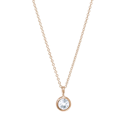 April Birthstone Necklace - White Topaz