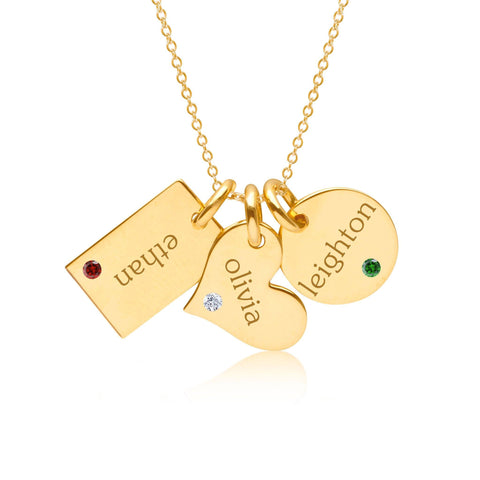 14k Gold Family Necklace With Birthstones