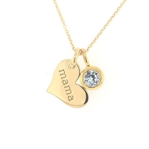 Gold Heart Mama Necklace
