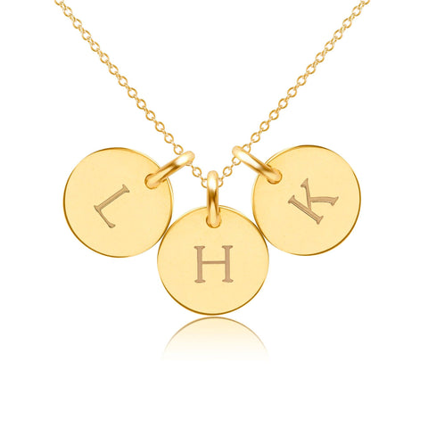 Image of 14k Gold Initial Necklace - 3 Circles - Uppercase