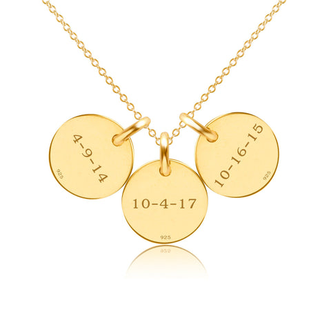 Image of Gold Initial Necklace - 3 Circles - Uppercase