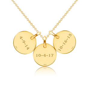 Gold Initial Necklace - 3 Circles - Uppercase