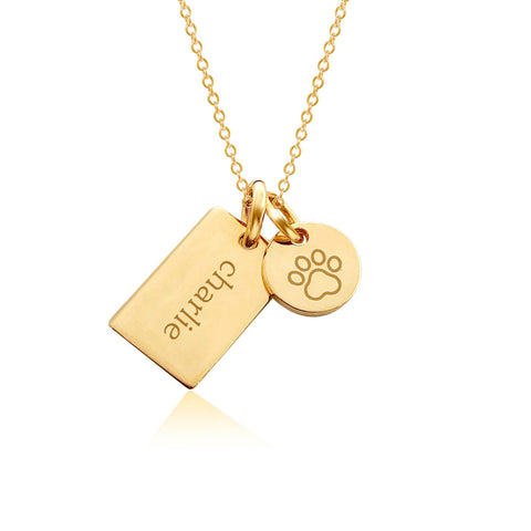 Image of Gold Paw Print Charm Necklace