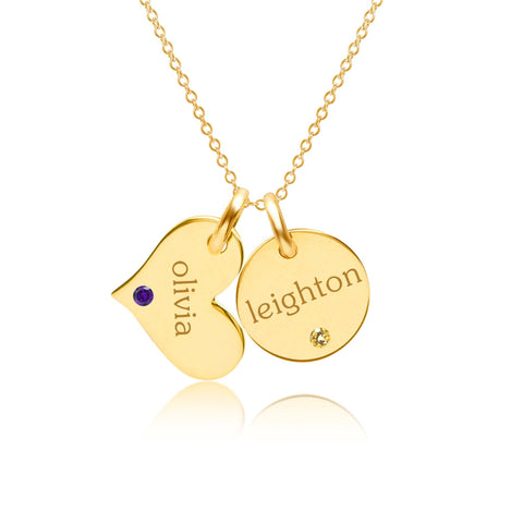 Image of 14k Gold Circle & Heart Necklace With Birthstones