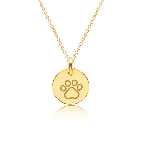 Gold Paw Print Charm Necklace