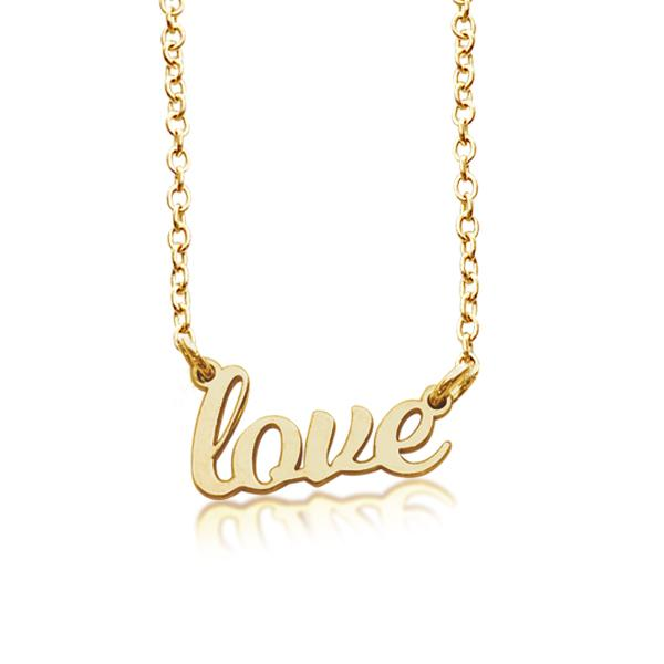 "Gold ""love"" Script Nameplate Necklace - tinytags"